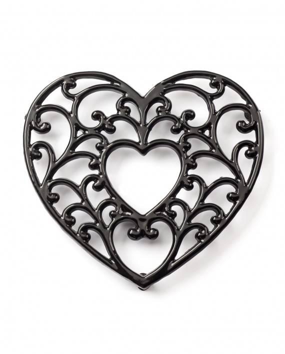 Podložka pod hrnec - smaltovaná srdce - černé - Smalt