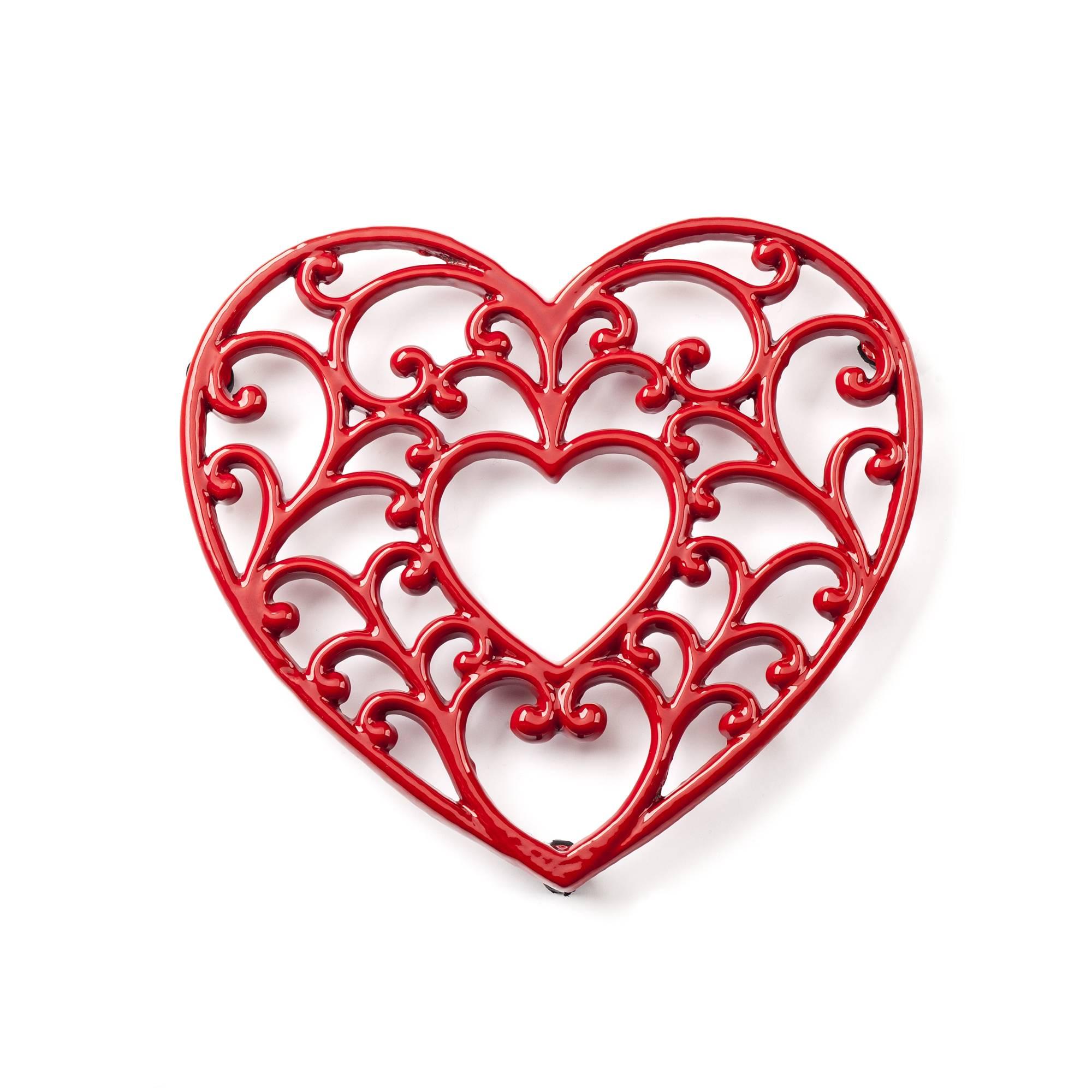 Podložka pod hrnec - smaltovaná srdce - červené - Smalt