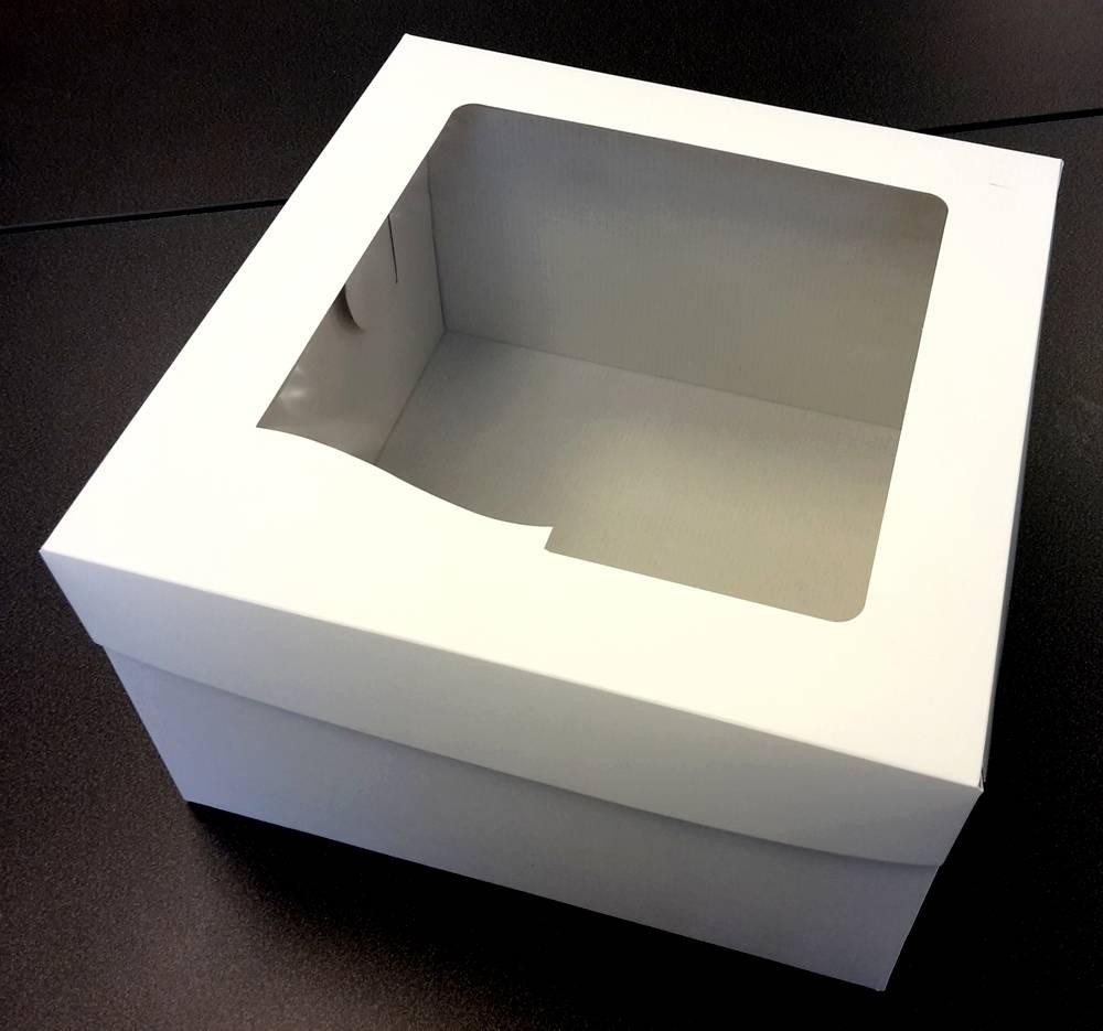 Dortová krabice a víko s okénkem 31,7 x 31,7 x 19,5 cm -