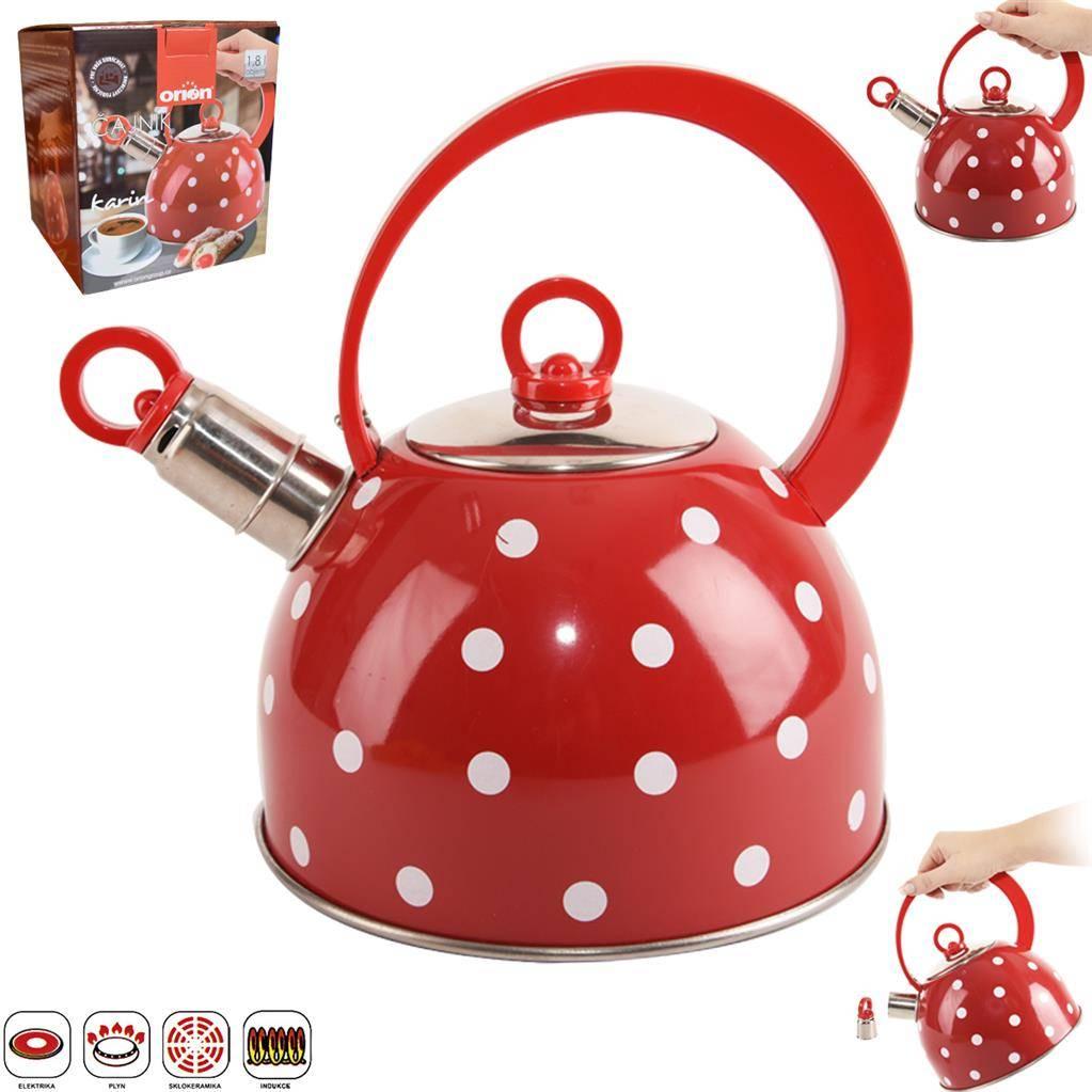 Čajník s píšťalou červený 1,8l Karin - Orion