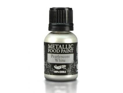 Metalická tekutá barva 25 ml - Bílá perleťová - Rainbowdust