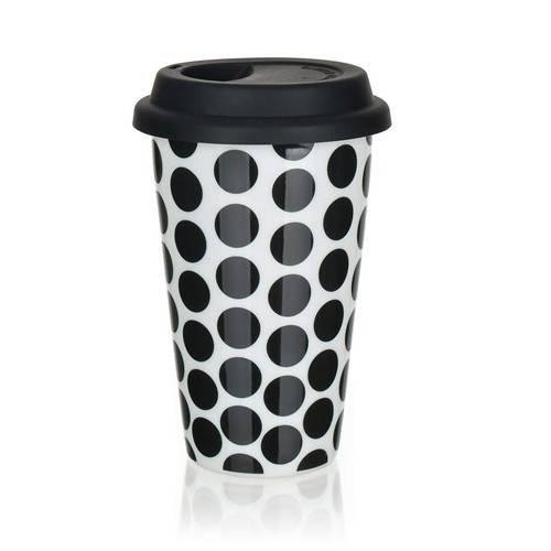Keramický hrnek dvoustěnný se silikonovým víčkem - 280 ml černé puntíky - BANQUET