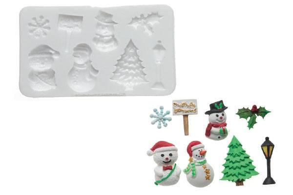 Silikonová forma na marcipán – sněhuláci - Silikomart