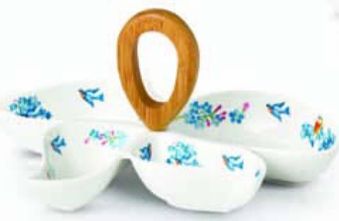 Keramický set na chuťovky – modrý dekor - Korkmaz