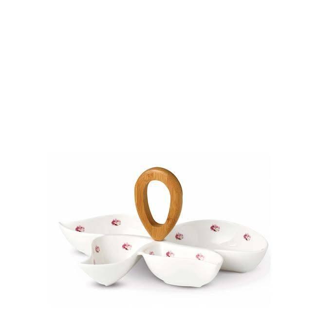 Keramický set na chuťovky – růžový dekor - Korkmaz