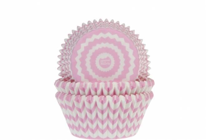 Košíčky na muffiny CHEVRON růžovo-bílé 50ks - House of Marie