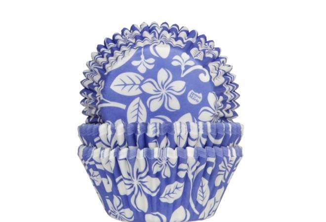 Košíček na muffiny Aloha květiny modrý 50ks - House of Marie