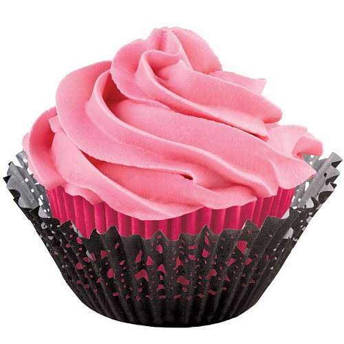 Košíčky na muffiny dvojité s krajkou černo růžové 50x33mm 24ks + 24ks - Wilton