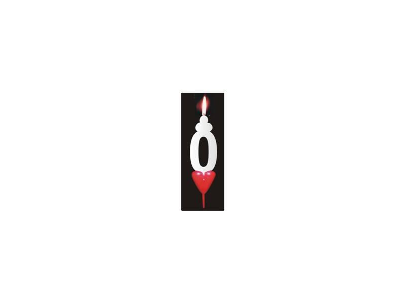 Dortová svíčka se srdíčkem číslice 0 - PREZENT