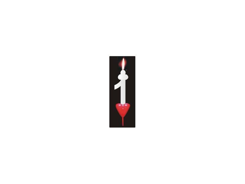 Dortová svíčka se srdíčkem číslice 1 - PREZENT