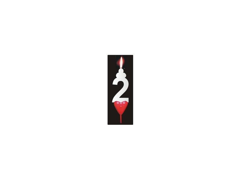 Dortová svíčka se srdíčkem číslice 2 - PREZENT