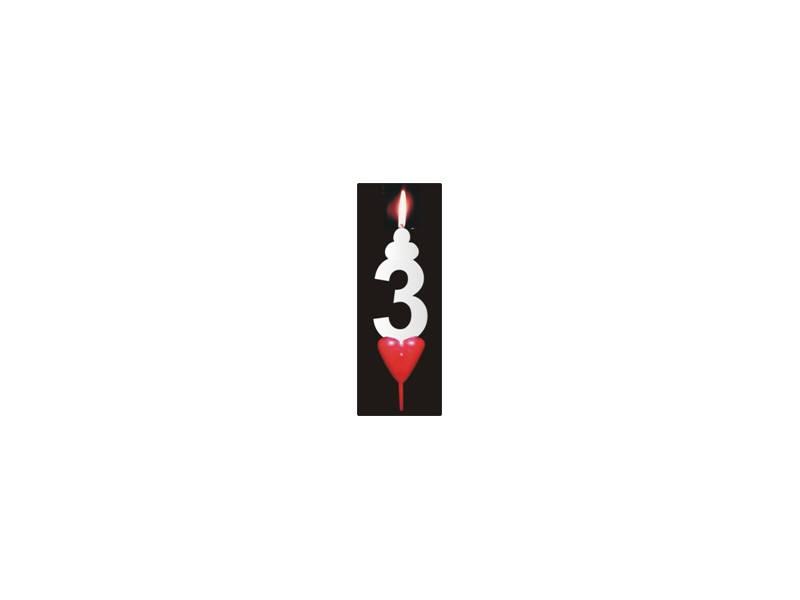 Dortová svíčka se srdíčkem číslice 3 - PREZENT