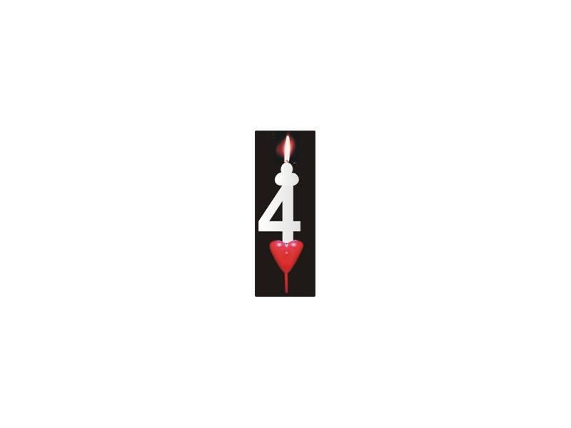 Dortová svíčka se srdíčkem číslice 4 - PREZENT