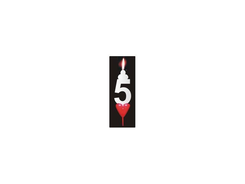 Dortová svíčka se srdíčkem číslice 5 - PREZENT