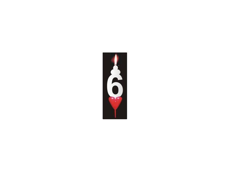 Dortová svíčka se srdíčkem číslice 6 - PREZENT