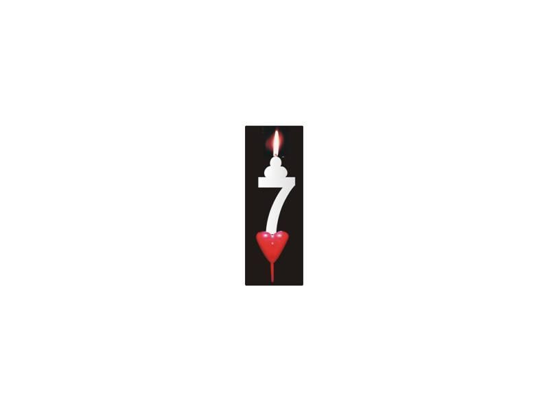Dortová svíčka se srdíčkem číslice 7 - PREZENT