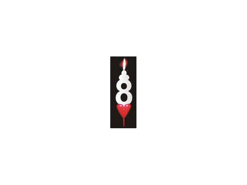 Dortová svíčka se srdíčkem číslice 8 - PREZENT