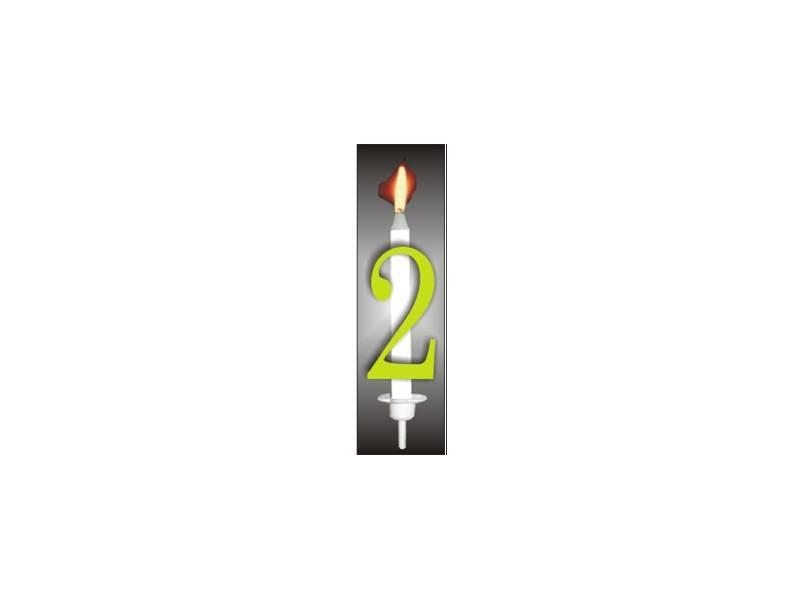 Dortová svíčka reflexní číslo 2 - PREZENT