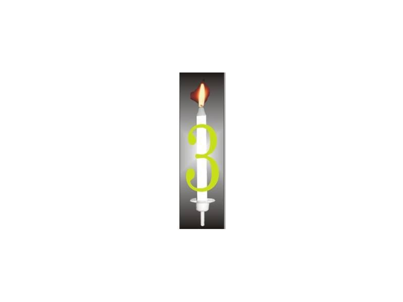 Dortová svíčka reflexní číslo 3 - PREZENT