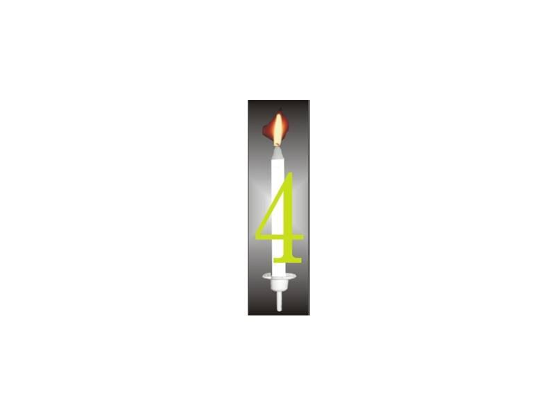 Dortová svíčka reflexní číslo 4 - PREZENT