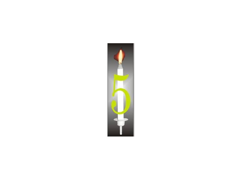 Dortová svíčka reflexní číslo 5 - PREZENT