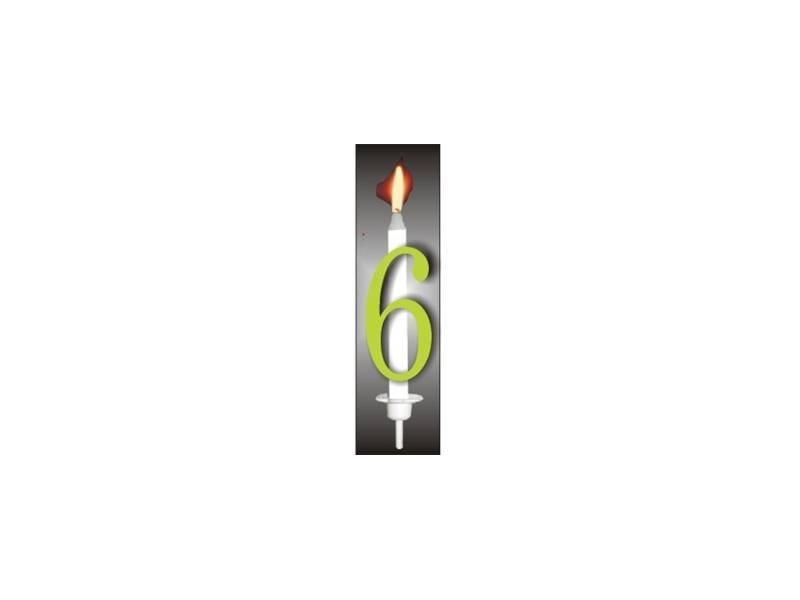 Dortová svíčka reflexní číslo 6 - PREZENT