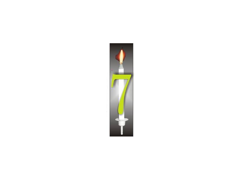 Dortová svíčka reflexní číslo 7 - PREZENT