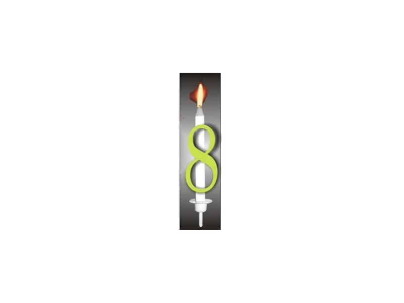 Dortová svíčka reflexní číslo 8 - PREZENT