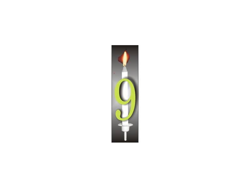 Dortová svíčka reflexní číslo 9 - PREZENT