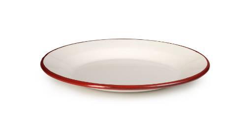 Smaltovaný talíř červeno bílý 24cm - Ibili