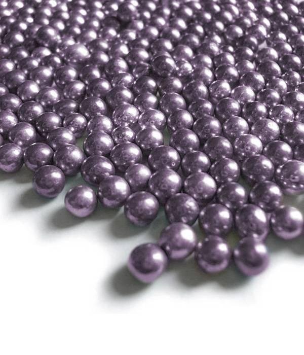 Cukrové kuličky 6mm lila šeříkové metalické 50g -