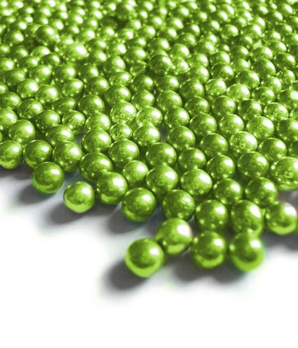 Cukrové kuličky 6mm zelené metalické 50g -