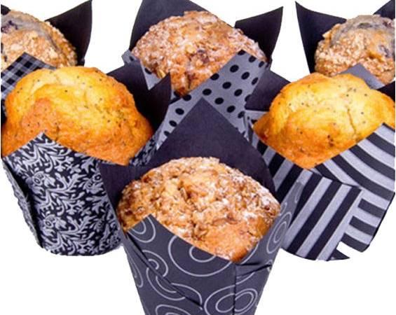 Stříbrno černé papírové košíčky na muffiny tulipán 4 vzory 200ks - House of Marie