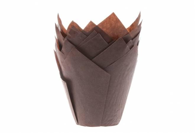 Hnědé papírové košíčky na muffiny tulipán 200ks - House of Marie