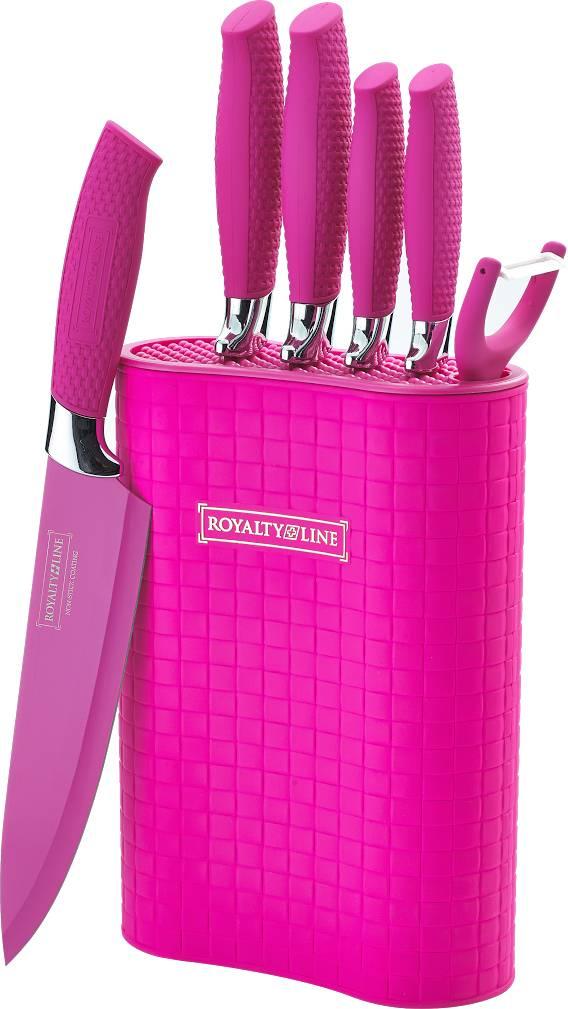 5-dílná sada nožů + škrabka + stojan RL-6MSTP růžová - RoyaltyLine