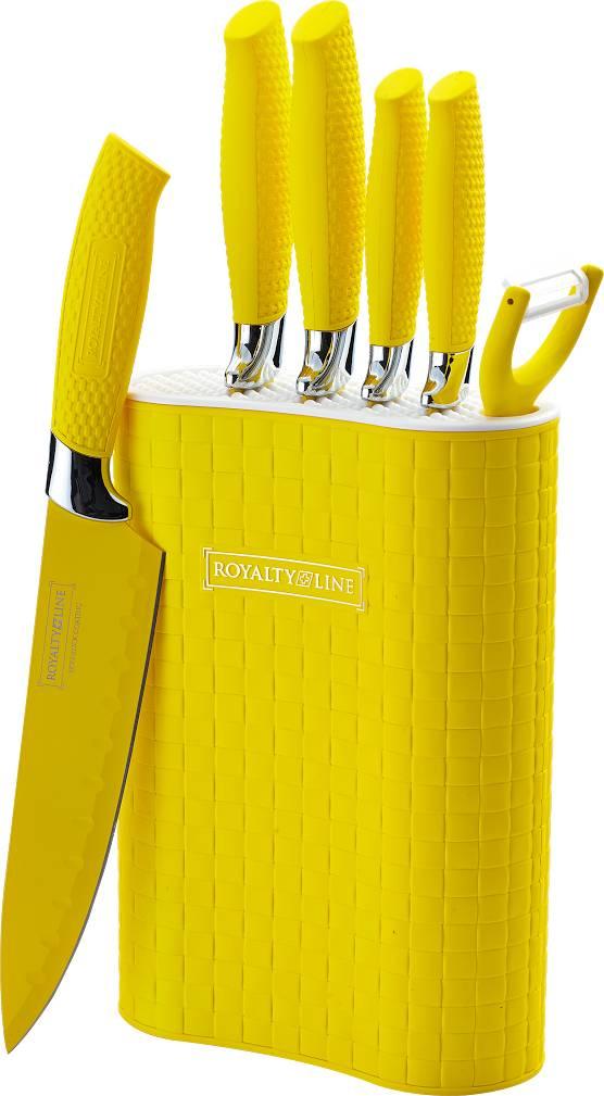 Sada 5 nožů škrabky a stojanu RL-6MSTY potažených antiadhezní vrstvou žlutá - RoyaltyLine