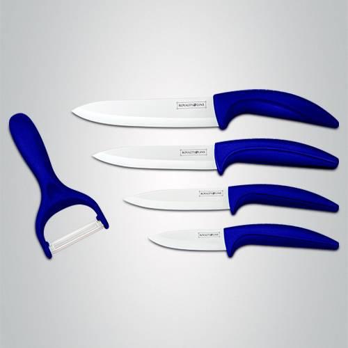 Sada keramických nožů RL-C4blue + škrabka modrá - RoyaltyLine