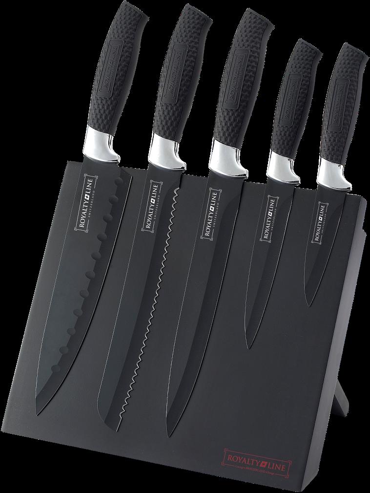 Sada 5 nožů RL-MAG5K s magnetickým stojanem černá - RoyaltyLine