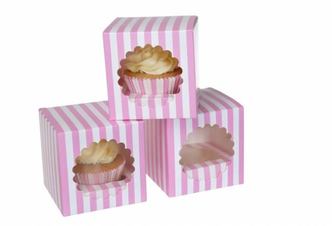 Papírový box pruhovaný na cupcake 3ks - House of Marie