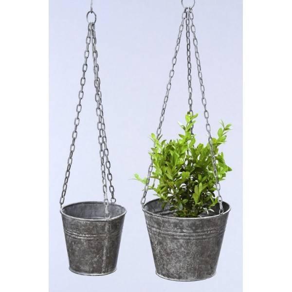 Dva závěsné květináče - plechový kbelík, 11 a 9 cm - Interservis