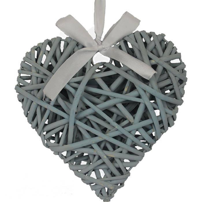 Proutěné srdce 20 cm, modro-šedé - Morex