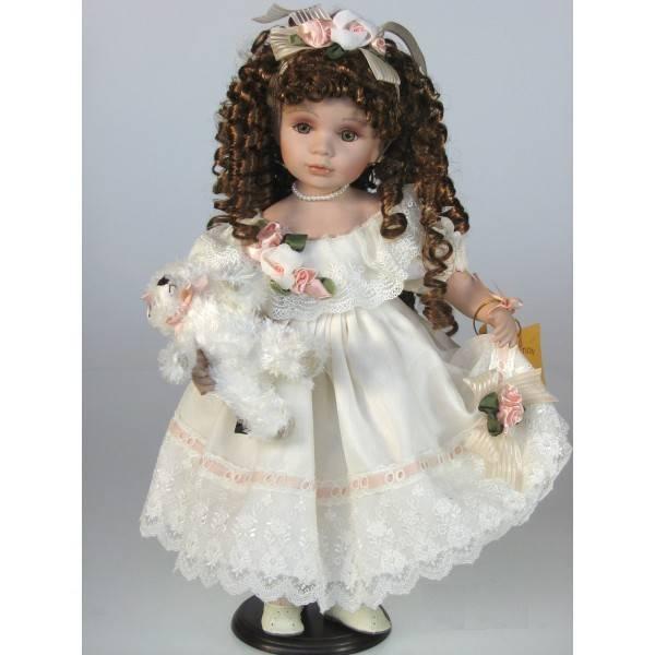 Porcelánová panenka - ve svatebních šatech, 48 cm - Interservis