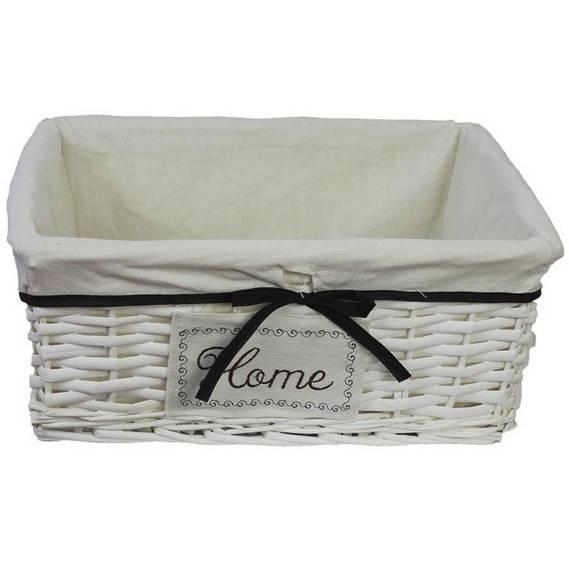 Proutěná zásuvka s látkou, bílá, 40 cm - Morex