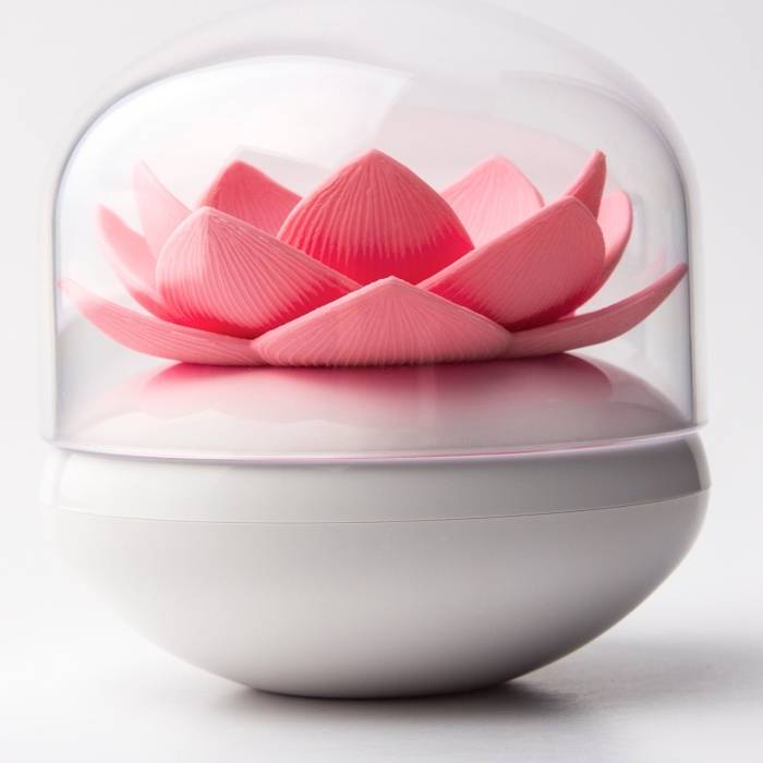 Stojánek na vatové tyčinky Lotus, růžový - QUALY
