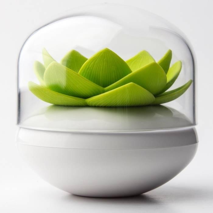 Stojánek na vatové tyčinky Lotus, zelený - QUALY