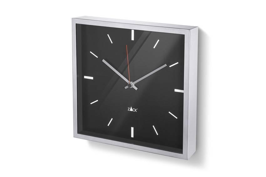 Čtvercové nástěnné hodiny Durata, černé - Zack