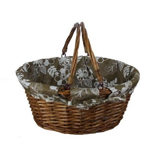 Proutěný košík oválný s hnědou látkou - Morex