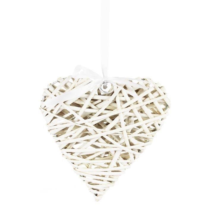 Proutěné srdce 20 cm, bílé - Morex