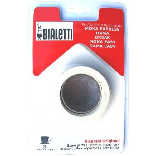 Sada: 3 gumové těsnění + 1 sítko pro hliníkové kávovary - Bialetti