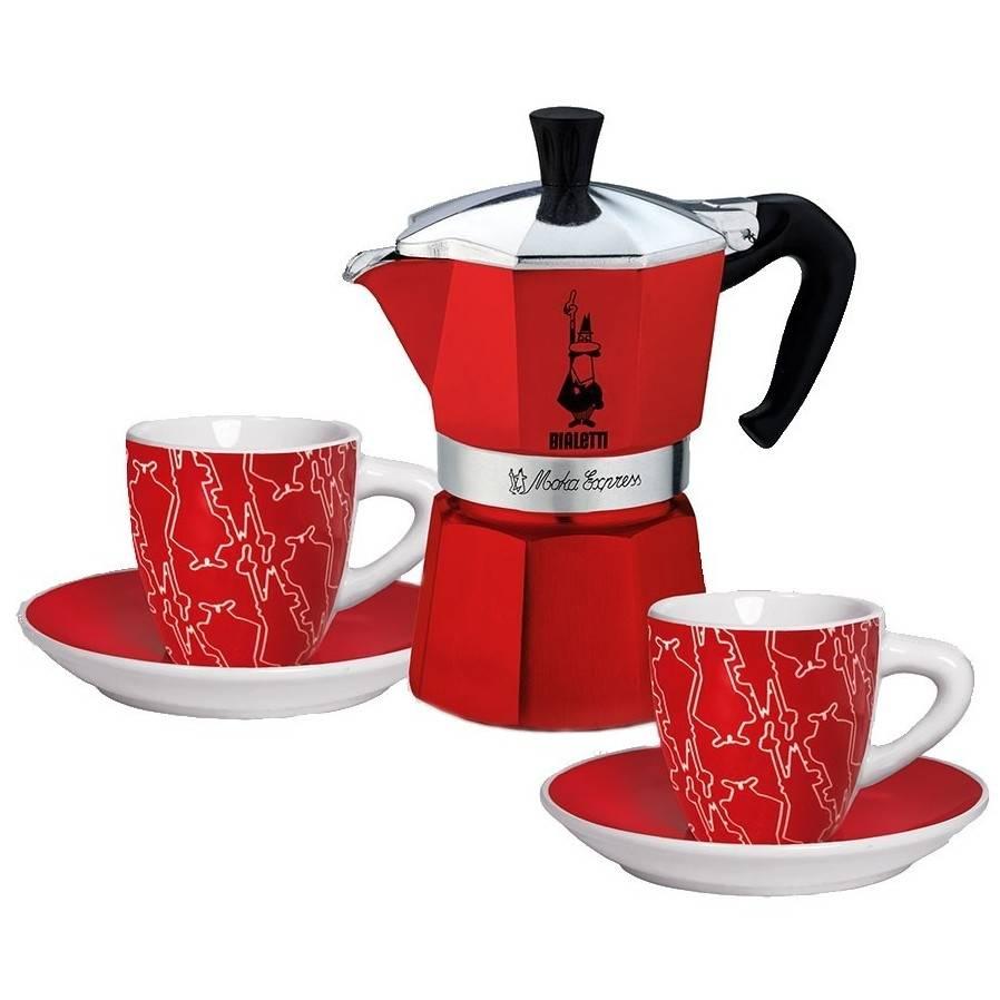 Bialetti dárková sada: Moka Red Passion + 2 červené šálky - Bialetti